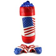 USA American Flag Boxing Children's Kid's Pretend Play Toy Boxing Play Set w/ Stuffed Punching Bag, Pair of Soft Padded Boxing Gloves, Perfect for All Kids
