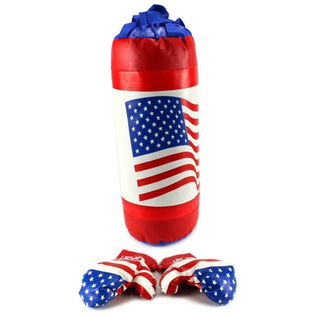 USA American Flag Boxing Children's Kid's Pretend Play Toy Boxing Play Set w/ Stuffed Punching Bag, Pair of Soft Padded Boxing Gloves, Perfect for All - Blow Up Boxing