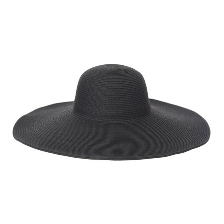 WITHMOONS Wide Brim Floppy Summer Beach Sun Hat Paper Straw Tassel Dome For Women KR9973 (Black)