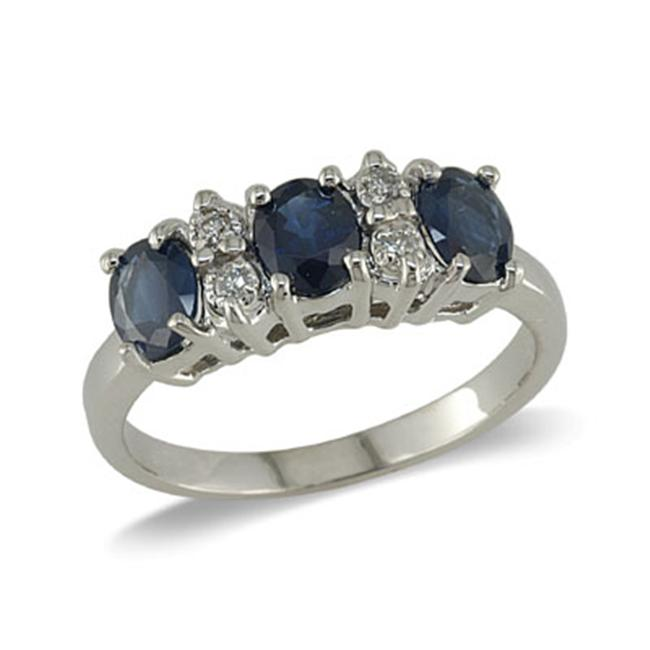 14K Gold Three Stone Sapphire and Diamond Ring Size 8. 5
