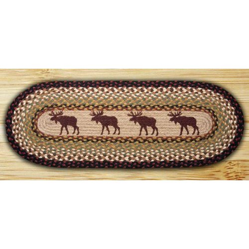 Earth Rugs 64-019 Oval Braided Printed Table Runner, 13-Inch by 48-Inch, Moose
