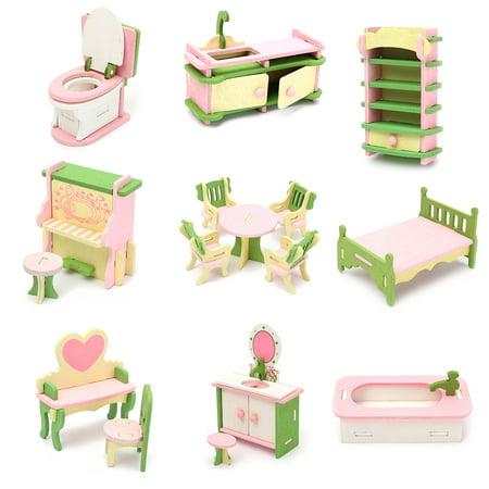 dolls furniture set. Wood Family Doll Dollhouse Furniture Set,Dolls House Miniature Decoration Accessories Room Set Kids Dolls R