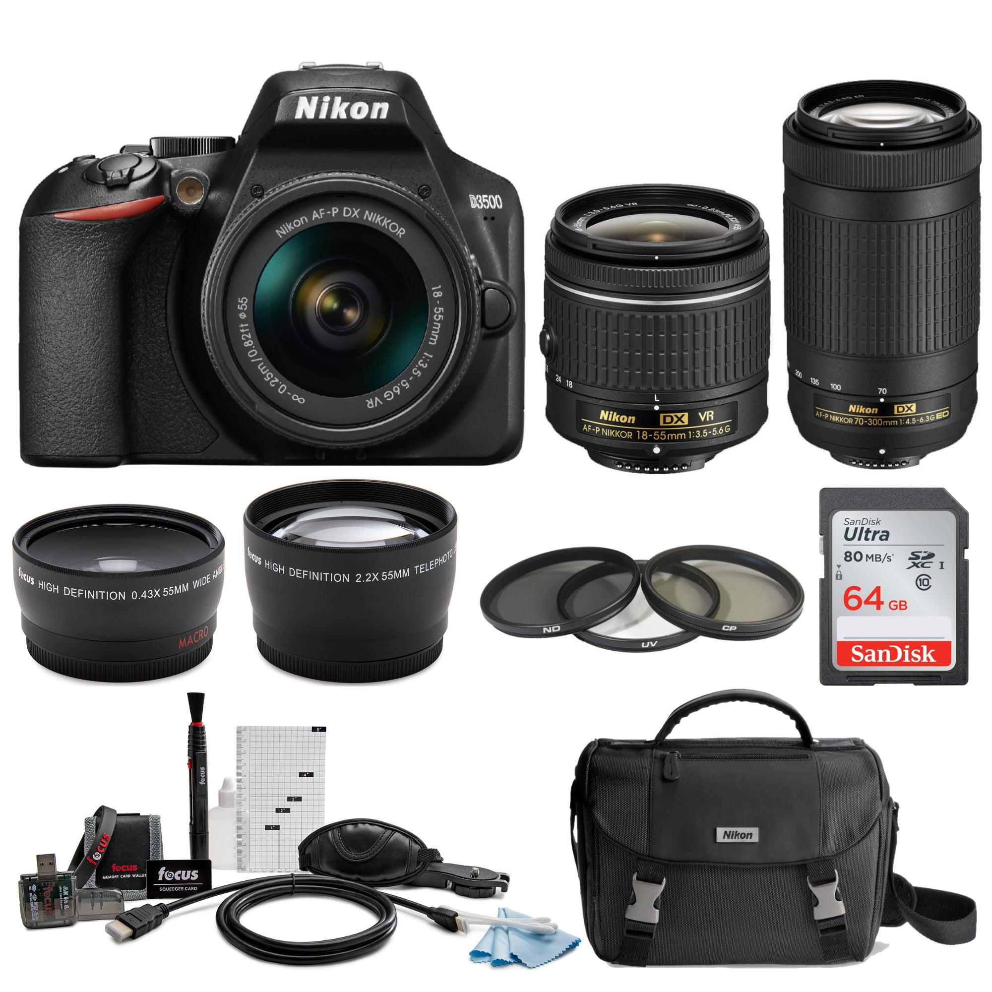 Nikon D3500 DSLR Camera with AF-P 18-55mm VR and 70-300mm Lenses and 64GB  Bundle