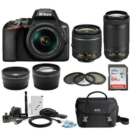 Nikon D3500 DSLR Camera with AF-P 18-55mm VR and 70-300mm Lenses and 64GB (Best Gimbal For Dslr)