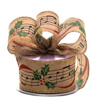 "2 1/2"" X 10 Yards Christmas Music Natural Wired Ribbon by Paper Mart"