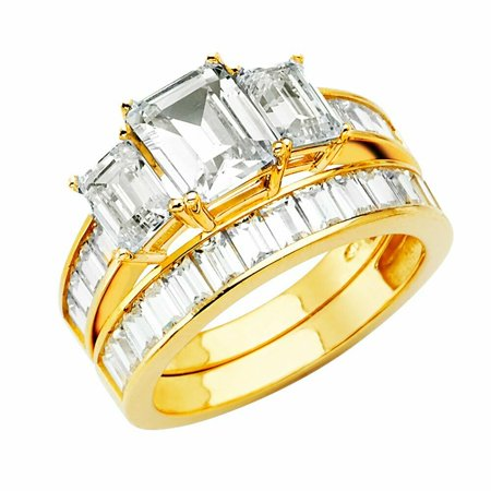 Solid 14k yellow Gold CZ Cubic Zirconia 3 Emerald Cut Wedding Engagement Ring With Prong Setting (2.50 ct.) 2pc
