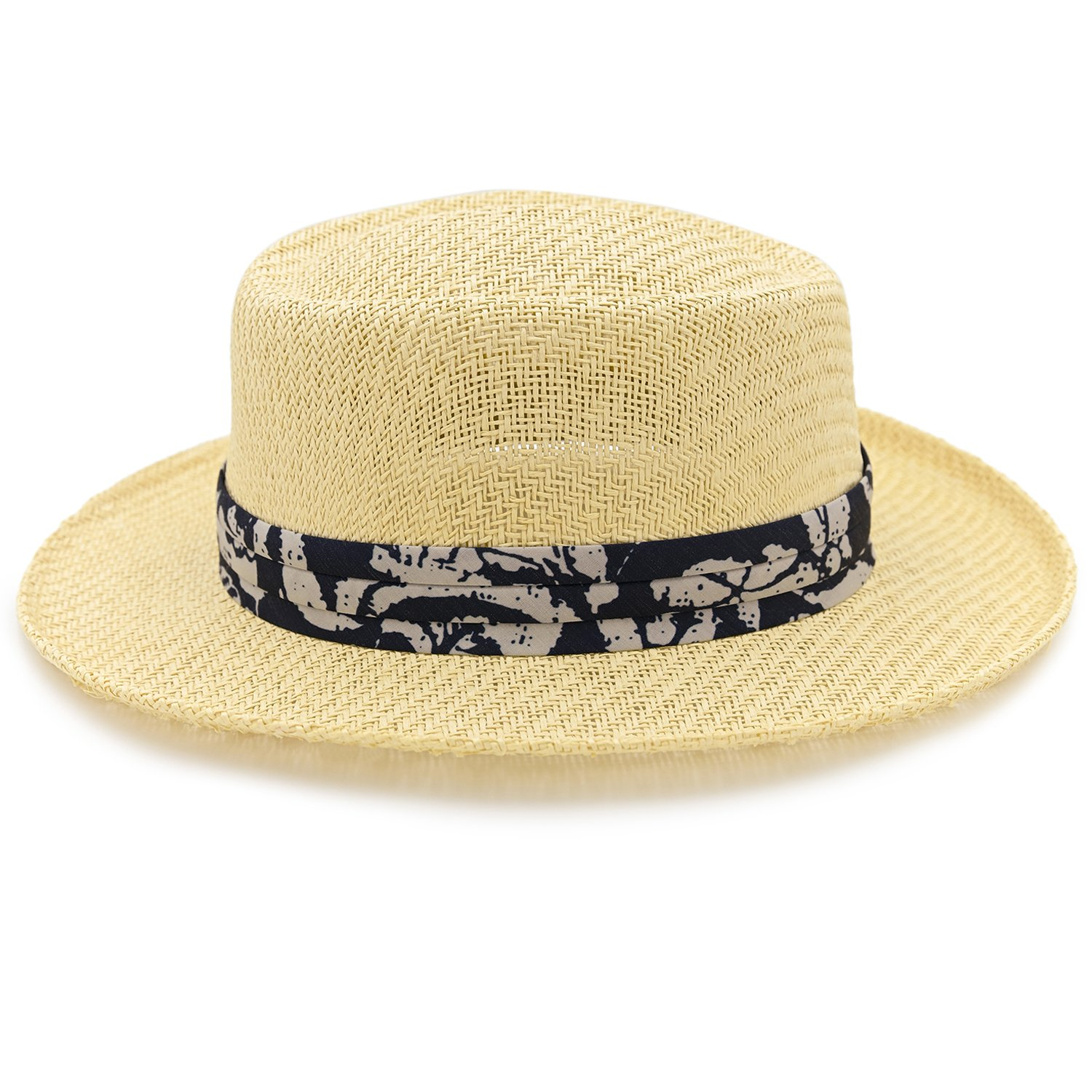 3-Pleat Ribbon Hat Band Inner Elastic Sweatband 3 Big Brim Lightweight Panama Jack Gambler Straw Hat