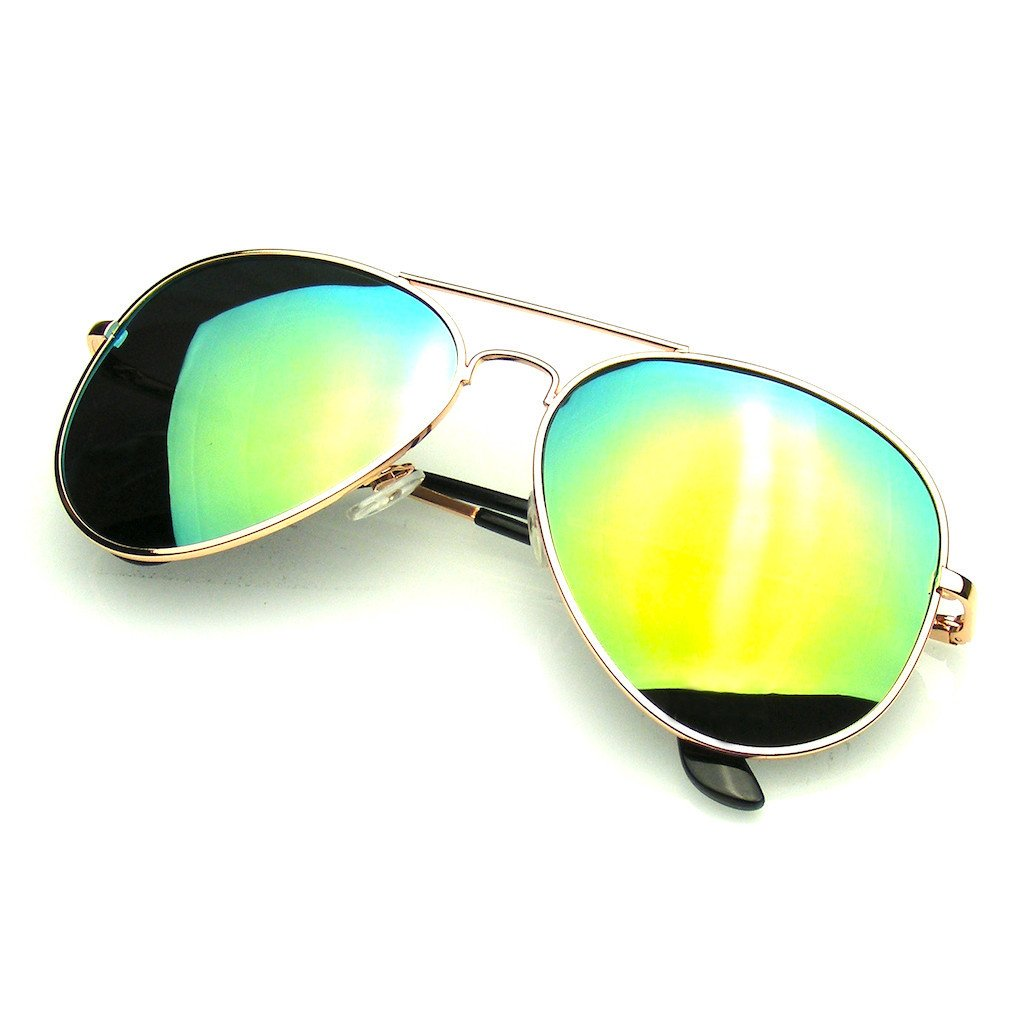 Mirror Eyewear Polarized Full Emblem Aviator Sunglasses Silver XZuiOPk