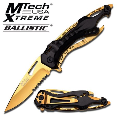 MTECH SPORTS SPRING ASSIST KNIFE - GOLD TITANIUM COATED BLADE