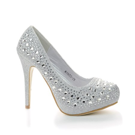 Mango25 by Top Moda, Rhinestone Studded Sparkling Platform Stiletto Heel Dress Pumps (Zapatos De Moda)