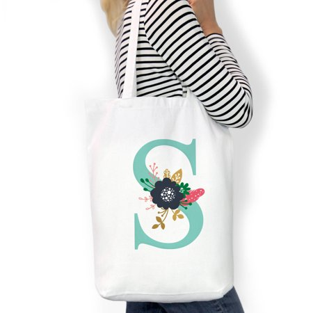 Personalized Initial Custom Cotton Tote Bag, Sizes 11