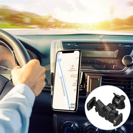 Quick Release Bracket Mount (Universial Air Vent Car Cell Phone Bat Mount Holder Stand Bracket Rotatable with Quick Release Switch Large Press Clip For Mobile Phone Smartphone Gps)