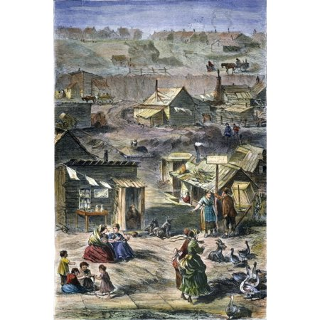 Nyc Squatters 1869 Nsquatters And Their Dilapidated Shanties On Hilly Broken Land Near New York CityS Central Park Wood Engraving American 1869 Rolled Canvas Art -  (24 x