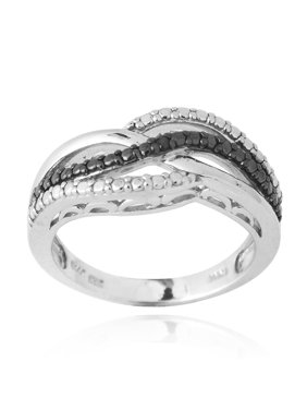 716773aeb Sold & shipped by Overstock. Product Image DB Designs Sterling Silver Black  Diamond Accent Intertwining Ribbon Ring