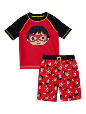 Ryans World Boys 4-7 Rash Guard Swim Shirt & Swim Trunks Set