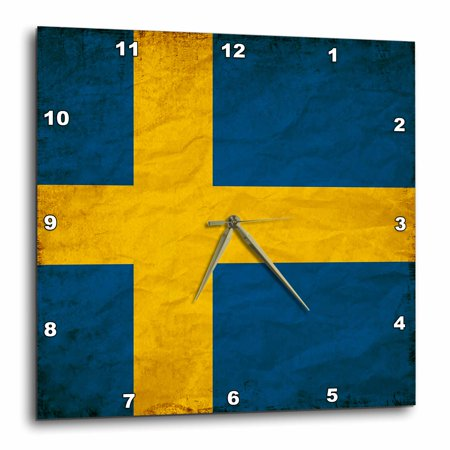 3dRose Swedish Flag Old Look Trendy Work - Wall Clock, 15 by 15-inch Flag Wall Clock
