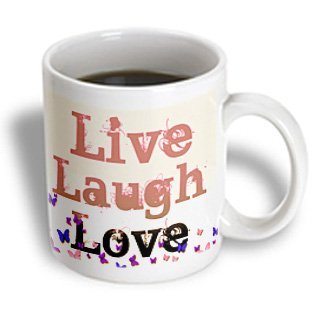 3dRose Live, Laugh, Love Pink and Purple Butterflies- Inspirational Words, Ceramic Mug, 15-ounce