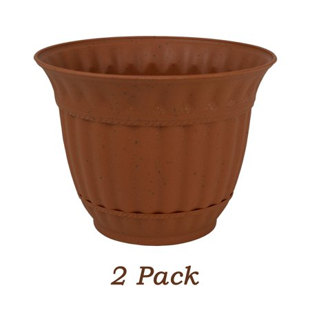 2 Pack 6 Inch Plastic Flower Pot Sienna Burn Decorative Attached Saucer Garden -