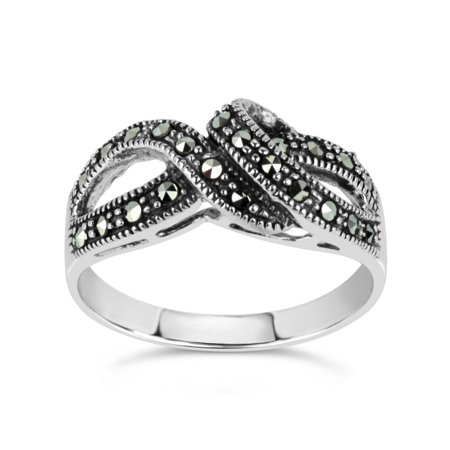 Art Deco Marcasite Ring - Swarovski Marcasite Sterling Silver Oxidized Twist Cluster Ring