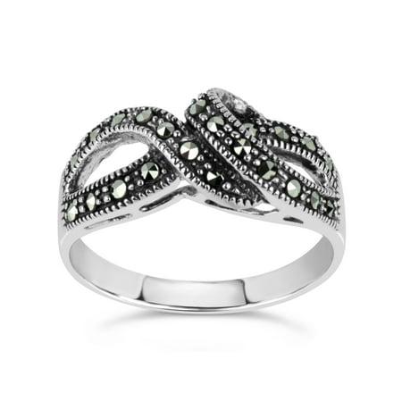 Marcasite Swirl Ring (Swarovski Marcasite Sterling Silver Oxidized Twist Cluster Ring )