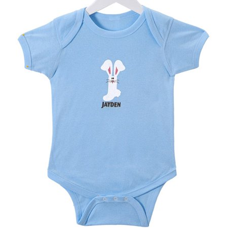Personalized Baby Boys' Hoppy Bunny Initial Bodysuit, Blue