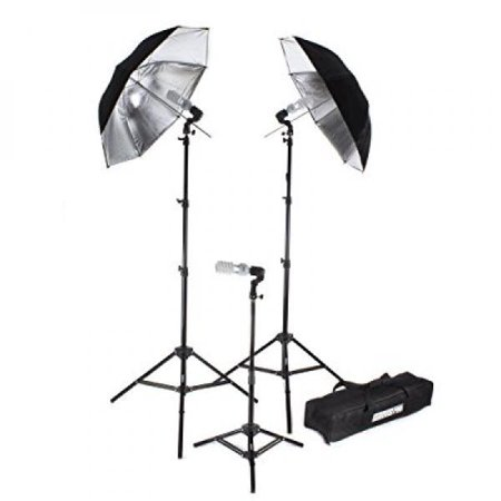 - Fovitec StudioPRO 675W 3 Light Single Lamp Black on Silver Umbrella Kit