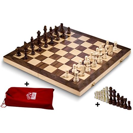 """GrowUpSmart Smart Tactics 16"""" Folding Chess Set Made by FSC Certified Wood - Premium Edition with Chess Bag and Extra Chess Pieces - image 1 of 1"""