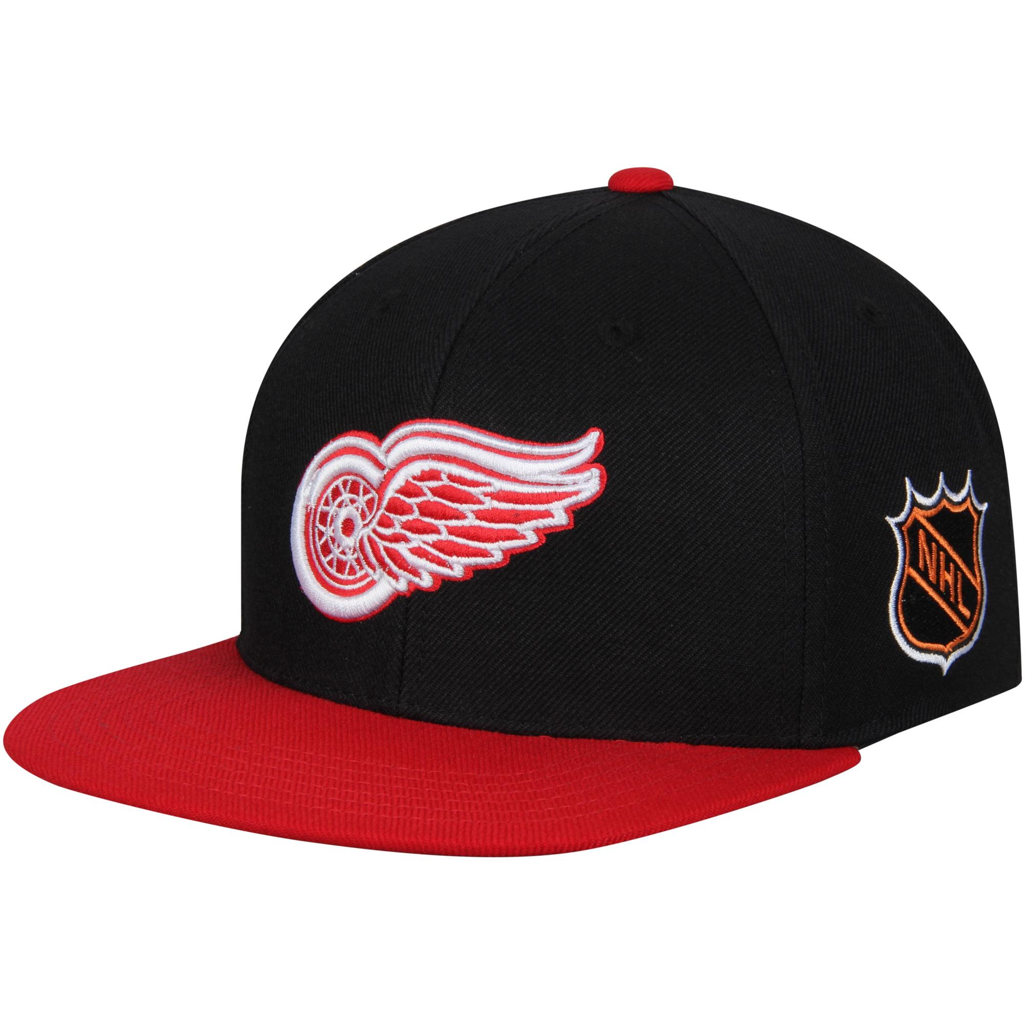 Detroit Red Wings American Needle Blockhead Snapback Adjustable Hat - Black/Red - OSFA