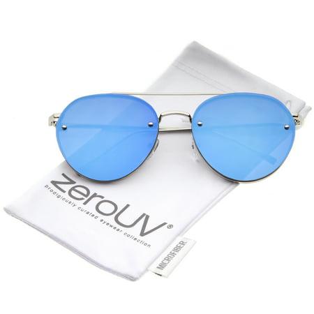 zeroUV - Modern Slim Temple Brow Bar Rimless Colored Mirror Flat Lens Aviator Sunglasses 59mm - (59mm Semi Rimless Aviator Sunglasses)