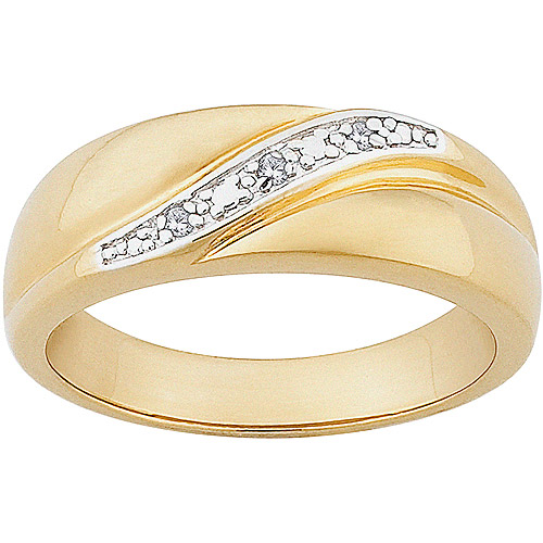 Men's Diamond Accent 14kt Gold over Sterling Silver Wedding Band