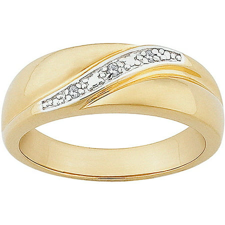 Men S Diamond Accent 14kt Gold Over Sterling Silver Wedding Band