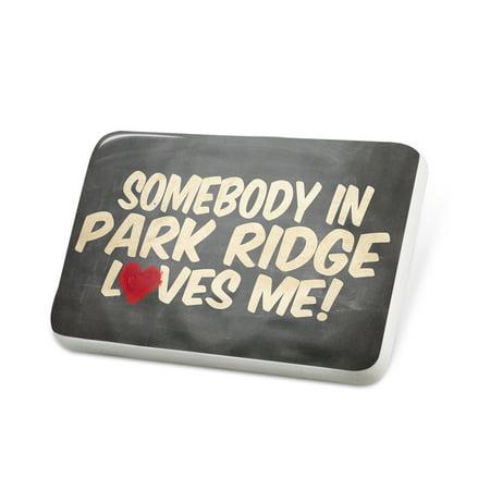 Porcelein Pin Somebody in Park Ridge Loves me, Illinois Lapel Badge – NEONBLOND - Halloween Park Ridge Illinois