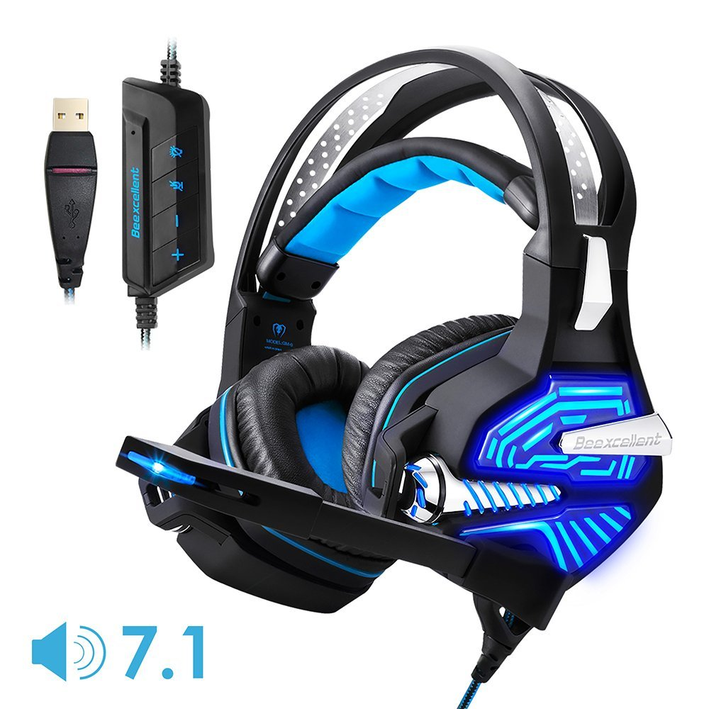 USB Gaming Headset GM-9 7.1 Surround Bass Sound Over-ear Headset with Microphone, LED Lights and Volume Control