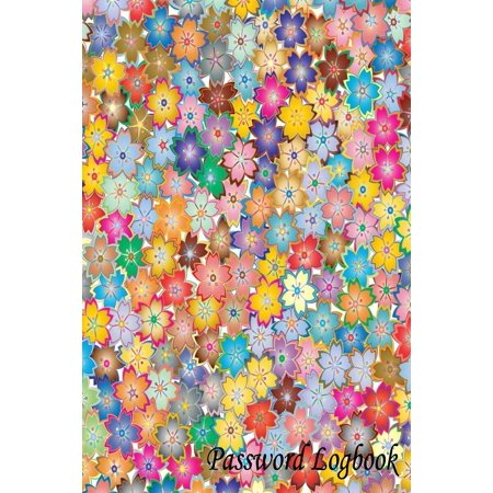 password logbook colorful flower personal internet address log