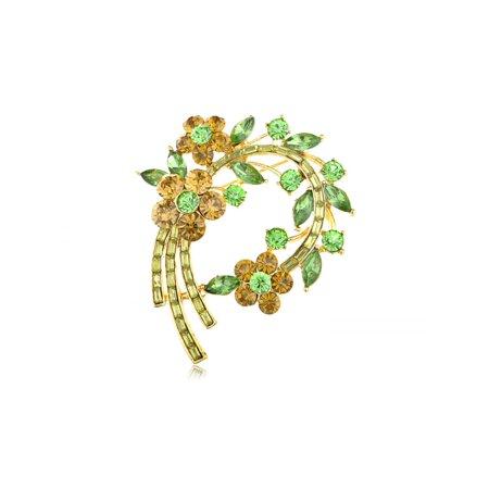 Topaz Green Crystal Rhinestone Fresh Spring Floral Flower Leaf Wreath Pin Brooch Crystal Flower Floral Brooch