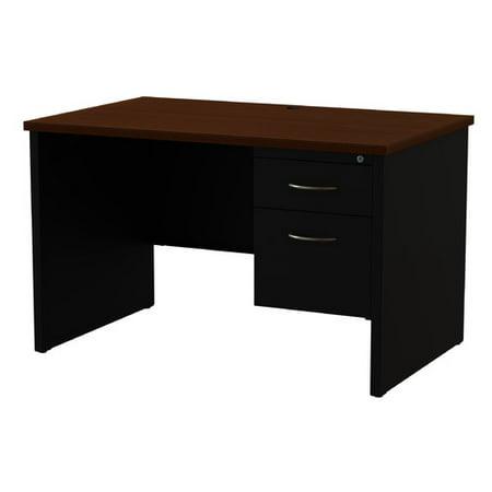 Modular Desk Series 30D x 48W Right Hand Single Pedestal Desk Arch Pull Handles, (Library Modular Front Desk)