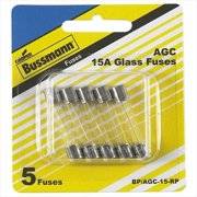 BUSSMANN BPAGC15RP 15 Amp Fast-Acting Glass Tube Fuses 0.25 x 1.25 In. Pack - 5