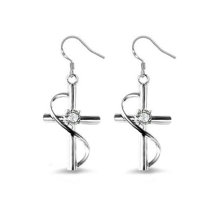 925 Sterling Silver Cross Earrings (Emma Manor 925 Sterling Silver Plated 1/2ct Cubic Zirconia Cross Dangle Earrings For Women)