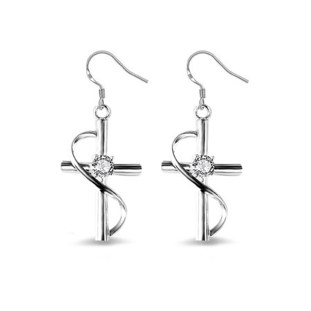 - Emma Manor 925 Sterling Silver Plated 1/2ct Cubic Zirconia Cross Dangle Earrings For Women