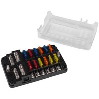 12-Way ATC/ATO Blade Fuse Block with Individual LED Status Lights, Assorted Fuses, and Ground Terminals