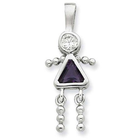 Little Girl Birthstone Charm - Birthstone Cubic Zirconia Little Girl Sterling Silver Charms