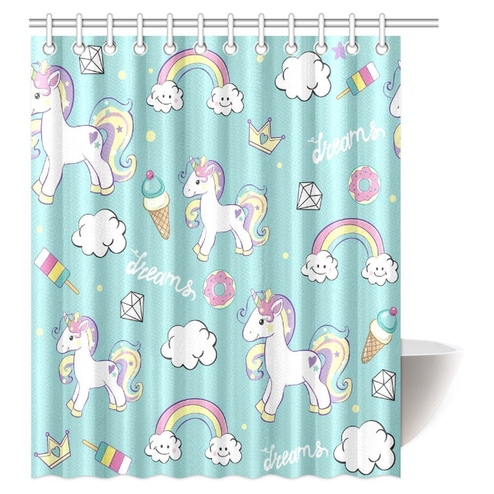 MYPOP Unicorn Home and Kids Decor Shower Curtain, Beautiful Unicorns with Diamond Ice Cream, and Clouds Bathroom Decor Set with Hooks, 60 X 72 Inches