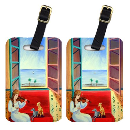 Pair of 2 Italian Greyhounds with Mom and Violin Luggage Tags