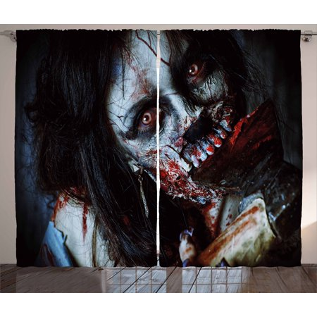 Zombie Curtains 2 Panels Set, Scary Dead Woman with a Bloody Axe Evil Fantasy Gothic Mystery Halloween Picture, Window Drapes for Living Room Bedroom, 108W X 63L Inches, Multicolor, by Ambesonne](Halloween Drake)