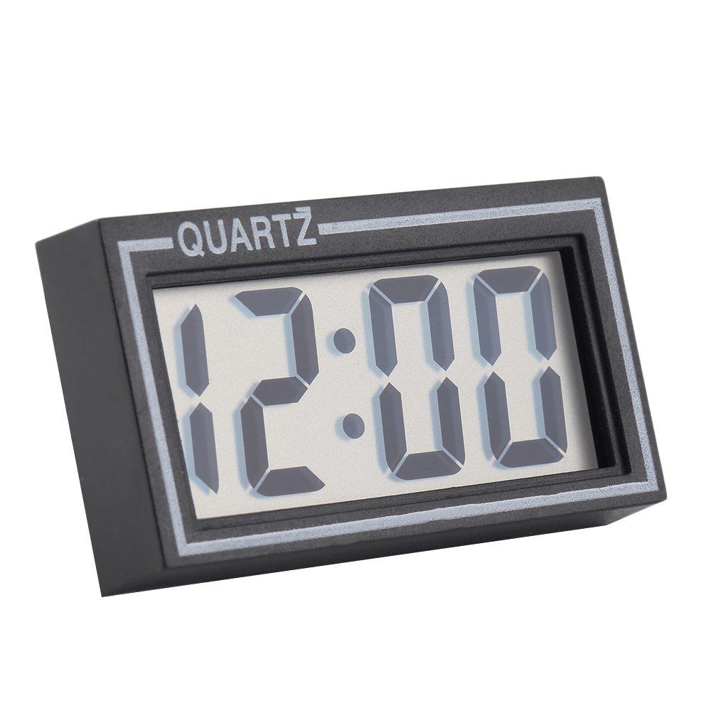 black plastic small size digital lcd table car dashboard desk date time calendar small clock with - Desk Clocks