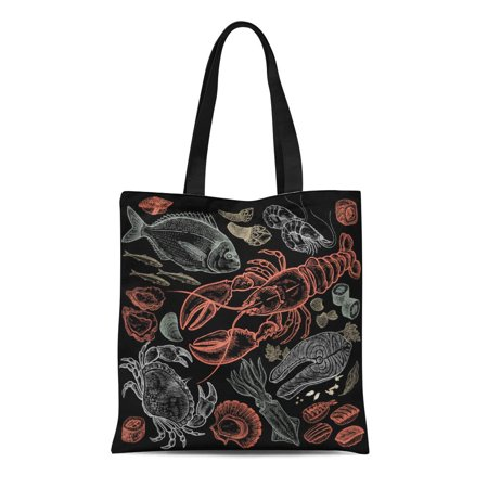 SIDONKU Canvas Bag Resuable Tote Grocery Shopping Bags Seafood Fish Shrimp Crab Lobster Octopus Mollusks Sushi Color Black Vintage of F Tote