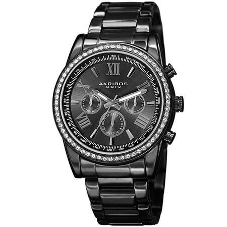 Men's Swiss Quartz Swarovski Crystals Dual-Time Stainless Steel Bracelet Watch (Crystal Dress Swiss Quartz Watch)