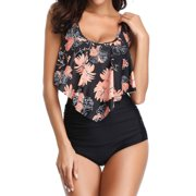 STARVNC Women Two Pieces Floral Print High Waist Tankini Swimsuit