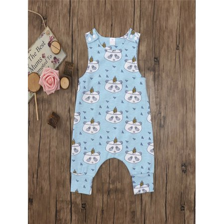 Cute Newborn Infant Baby Boys Girls Cartoon Print Romper Jumpsuit Outfits