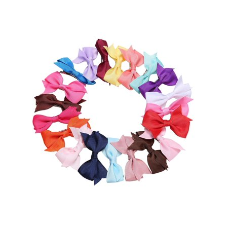 20 Colors Girls Hair Clips  Alligator Clips Bow Ribbon Kids Sides, 20 Pcs  WCYE - Cheap Hair Accesories